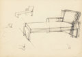 Fine Art - Work on Paper:Drawing, 20th Century School. Lounge Designs (two works). Pencil andink on paper, each. 9-1/4 x 13-1/4 inches (23.5 x 33.7 cm) (...(Total: 2 Items)