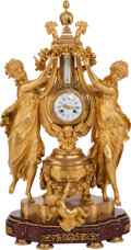Clocks & Mechanical, A Lemerle Charpentier & Cie French Gilt Bronze Figural Mantle Clock & Thermometer, circa 1855. Marks to mechanism: LEMERLE...