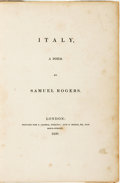 Books:Literature Pre-1900, Samuel Rogers. Italy, A Poem. London: Printed for T. Cadelland E. Moxon, 1830....