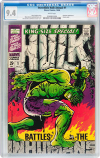 The Incredible Hulk Annual #1 (Marvel, 1968) CGC NM 9.4 White pages