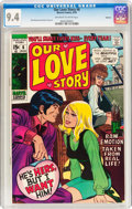 Bronze Age (1970-1979):Romance, Our Love Story #6 Oakland Pedigree (Marvel, 1970) CGC NM 9.4Off-white to white pages....