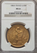 France, France: Republic gold 100 Francs 1886-A MS61 NGC,...