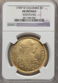 Colombia, Colombia: Charles IV gold 8 Escudos 1790 P-SF AU Details(Scratches) NGC,...