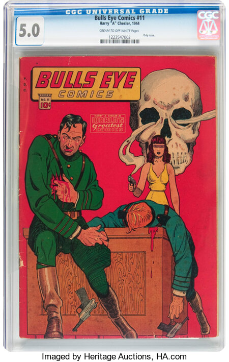 Bulls-Eye Comics #11 (Harry 'A' Chesler, 1944) CGC VG/FN 5.0 Cream to off-white pages....