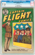 Golden Age (1938-1955):War, Captain Flight Comics #4 (Four Star, 1944) CGC VF- 7.5 Light tan tooff-white pages....