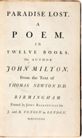 Books:Literature Pre-1900, John Milton. Paradise Lost. A Poem in Twelve Books. London: Printed by John Baskerville for J. and R. Tonson, 1758....