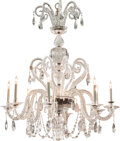 Decorative Arts, Continental:Lamps & Lighting, A Baccarat-Style Molded and Cut-Glass Eight-Light Chandelier, 20thcentury. 52 inches high x 42 inches diameter (132.1 x 106...