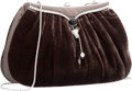 """Luxury Accessories:Accessories, Judith Leiber Gray Velvet, Satin & Silver Crystal Evening Bag with Silver Hardware. Good Condition. 8"""" Width x 5"""" Heig..."""