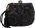 "Luxury Accessories:Accessories, Judith Leiber Black Lace, Sequin & Crystal Evening Bag withGold Hardware. Very Good Condition. 7"" Width x 5.5""Height..."