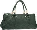 """Luxury Accessories:Bags, Judith Leiber Green Leather Tote Bag. Fair Condition.15.5"""" Width x 8"""" Height x 2"""" Depth. ..."""