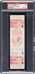Baseball Collectibles:Tickets, 1977 World Series Game Six Full Ticket--Reggie Jackson Hits ThreeHome Runs in Clincher, PSA EX 5. ...