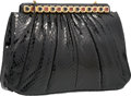 "Luxury Accessories:Bags, Judith Leiber Black Python Evening Bag. Very Good Condition.11"" Width x 7.5"" Height x 3"" Depth. ..."