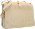 "Luxury Accessories:Accessories, Judith Leiber Beige Suede & Tiger's Eye Shoulder Bag with GoldHardware. Good to Very Good Condition. 9"" Width x 8""He..."