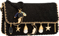 "Judith Leiber Black Suede Lunar Charms Evening Bag Very Good Condition 7.5"" Width x 4.5"" Height x"