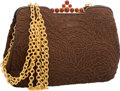 "Judith Leiber Brown Embroidered Suede Evening Bag Excellent Condition 11"" Width x 8"" Height x 3"""