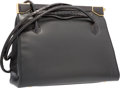 Luxury Accessories:Accessories, Judith Leiber Shiny Black Alligator & Black Pebbled LeatherShoulder Bag with Gold Hardware. Very Good Condition.11.5...