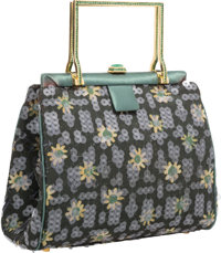 Judith Leiber Green Floral Satin, Sequin & Crystal Evening Bag with Gold Hardware Very Good Condition