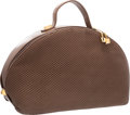 """Luxury Accessories:Accessories, Judith Leiber Brown Pleated Leather Bowler Bag with Gold Hardware.Good to Very Good Condition. 16"""" Height x 9""""Height..."""