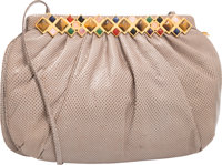 Judith Leiber Gray Karung & Semiprecious Stone Shoulder Bag with Gold Hardware Very Good Condition <