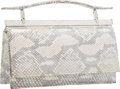 Luxury Accessories:Accessories, Judith Leiber Metallic Silver Python & Silver Crystal EveningBag with Silver Hardware. Very Good to ExcellentCondition...