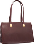 """Luxury Accessories:Accessories, Judith Leiber Burgundy Leather Tote Bag with Gold Hardware. Goodto Very Good Condition. 15"""" Width x 10"""" Height x 2.5""""..."""