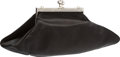 "Luxury Accessories:Bags, Judith Leiber Black Satin Evening Bag. Very Good Condition. 8"" Width x 3.5"" Height x 4"" Depth. ..."