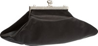 "Judith Leiber Black Satin Evening Bag Very Good Condition 8"" Width x 3.5"" Height x 4"" Depth</"