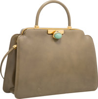 """Judith Leiber Green Leather Top Handle Evening Bag Good Condition 9.5"""" Width x 6.5"""" Height x 3"""" D"""