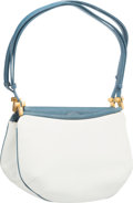"Luxury Accessories:Bags, Judith Leiber White Leather & Blue Karung Shoulder Bag. GoodCondition. 9.5"" Width x 6"" Height x 5"" Depth. ..."