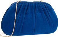 "Judith Leiber Blue Suede Shoulder Bag with Gold Hardware Good Condition 9"" Width x 5.5"" Height x"