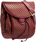 "Luxury Accessories:Bags, Judith Leiber Burgundy Suede Shoulder Bag. Very GoodCondition. 8"" Width x 10"" Height x 3.5"" Depth. ..."