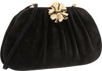 Judith Leiber Black Suede, Crystal and Glass Pearl Evening Bag with Gold Hardware Very Good Condition