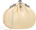 "Luxury Accessories:Bags, Judith Leiber Metallic Yellow Karung & Silver Crystal Evening Bag with Silver Hardware. Very Good Condition. 8"" Width ..."