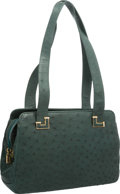 """Luxury Accessories:Accessories, Judith Leiber Green Ostrich Shoulder Bag with Gold Hardware. Good to Very Good Condition. 11"""" Width x 8"""" Height x 2"""" D..."""