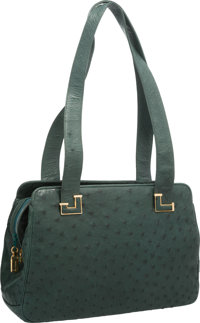 """Judith Leiber Green Ostrich Shoulder Bag with Gold Hardware Good to Very Good Condition 11"""" Width"""