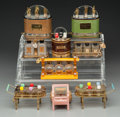 Art Glass:Other , Nine Miniature Novelty Perfume Sets, circa 1930-1940. 4-5/8 incheshigh (11.74 cm) (tallest). ... (Total: 9 Items)
