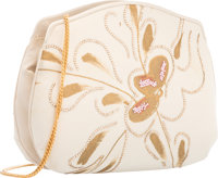"Judith Leiber Cream Silk & Crystal Evening Bag Very Good Condition 7"" Width x 6"" Height x 2.5"" De"