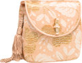 """Luxury Accessories:Bags, Judith Leiber Peach Silk & Lace Evening Bag. Very Good toExcellent Condition. 5.5' Width x 6"""" Height x 1.5""""Depth. ..."""