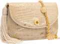 "Luxury Accessories:Bags, Judith Leiber Beige Crocodile Shoulder Bag. Good Condition.8"" Width x 5.5"" Height x 3"" Depth. ..."