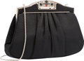 "Luxury Accessories:Bags, Judith Leiber Black Silk Evening Bag. Excellent Condition.9.5"" Width x 5"" Height x 1.5"" Depth. ..."