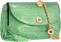 "Luxury Accessories:Bags, Judith Leiber Green Crocodile Shoulder Bag. Good Condition.8"" Width x 5"" Height x 2"" Depth. ..."