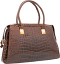 "Luxury Accessories:Bags, Judith Leiber Shiny Brown Alligator Shoulder Bag. GoodCondition. 13"" Width x 8"" Height x 3"" Depth. ..."