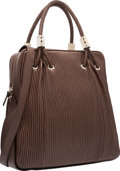 "Luxury Accessories:Bags, Judith Leiber Brown Leather Tote Bag. Good Condition. 13""Width x 12.5"" Height x 4.5"" Depth. ..."