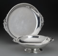 Silver Holloware, American:Platters, A J. Wagner & Son Jensen-Style Silver Platter and Bowl, NewYork, New York, circa 1940. Marks: (W-shield), STERLING,125... (Total: 2 Items)