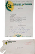 Football Collectibles:Others, 1958 Jack Vainisi Signed Green Bay Packers Letter to Jerry Kramer, With Original Envelope...