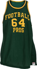 "Football Collectibles:Uniforms, 1960's Jerry Kramer Game Worn ""Football Pros"" Green Bay Packers Charity Basketball Jersey...."