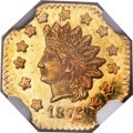 California Fractional Gold , 1875 $1 Indian Octagonal 1 Dollar, BG-1126, R.5, MS64 Prooflike NGC....