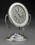 Silver Holloware, American:Clocks, A Reed and Barton Silver Desk Clock with Waltham Mechanism,Taunton, Massachusetts, circa 1950. Marks: (eagle-R-lion),STE... (Total: 2 Items)