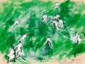 Fine Art - Painting, American:Contemporary   (1950 to present)  , LeRoy Neiman (American, 1921-2012). Lord's Cricket Grounds,London, Australia vs. England Test Match, 1961. Acrylic and ...