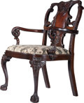 Furniture , A George II-Style Carved Mahogany Arm Chair, in the Style of Lock and Grendey, 20th century. 39 inches high x 27-3/4 inches ...